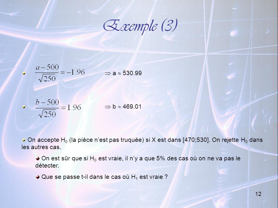 Exemple (3) a  530.99.  b  469.01. On accepte H0 (la pièce n'est pas truquée) si X est dans [470;530]. On rejette H0 dans les autres cas.
